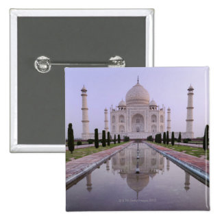 the Taj Mahal perfectly reflected in the pool in 2 Inch Square Button