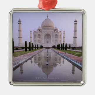 the Taj Mahal perfectly reflected in the pool in Metal Ornament