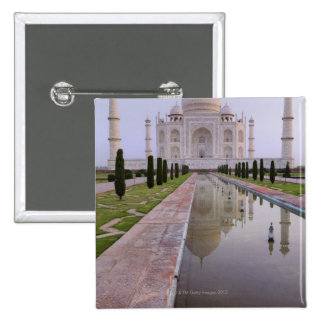 The Taj Mahal perfectly reflected in the still 2 Inch Square Button