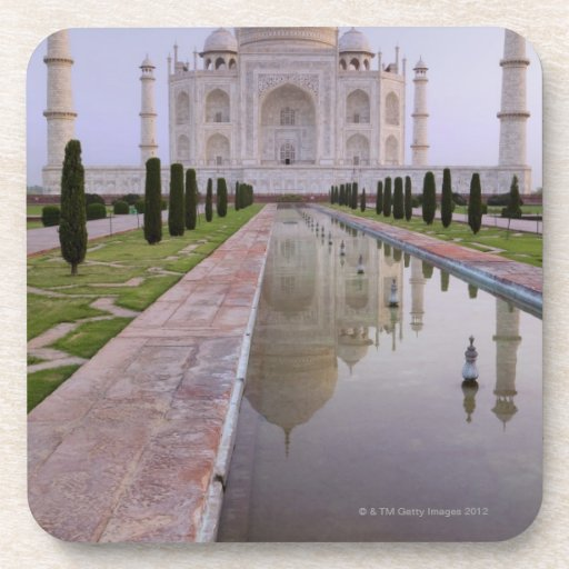 The Taj Mahal perfectly reflected in the still Beverage Coasters