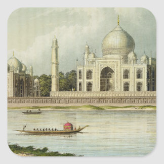 The Taj Mahal Tomb of the Emperor Shah Jehan and Square Sticker