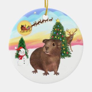The Take Off - Brown Guinea Pig #3 Ceramic Ornament