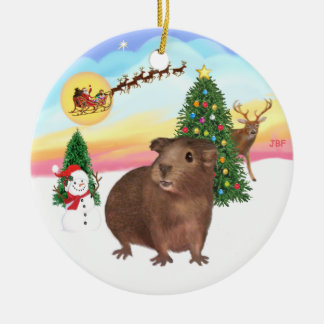 The Take Off - Brown Guinea Pig #3 Double-Sided Ceramic Round Christmas Ornament
