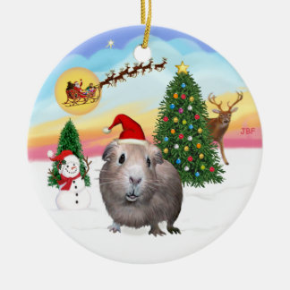The Take Off - Guinea Pig #2 Double-Sided Ceramic Round Christmas Ornament
