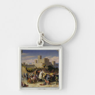The Taking of Beirut by the Crusaders Silver-Colored Square Keychain