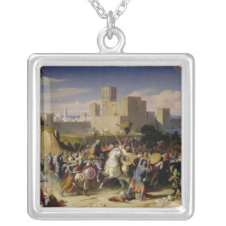 The Taking of Beirut by the Crusaders Square Pendant Necklace