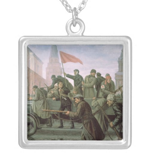 The Taking of the Moscow Kremlin in 1917, 1938 Square Pendant Necklace