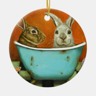 The Tale Of Two bunnies Ceramic Ornament