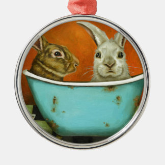 The Tale Of Two bunnies Metal Ornament