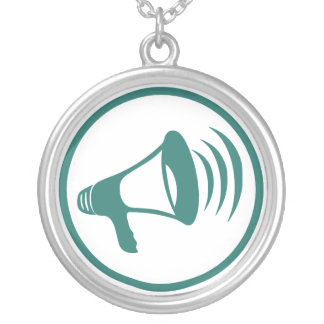 """The """"talking science"""" badge silver plated necklace"""