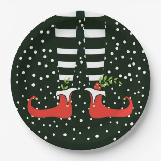 The Tall Elf Christmas Party Paper Plates at Zazzle