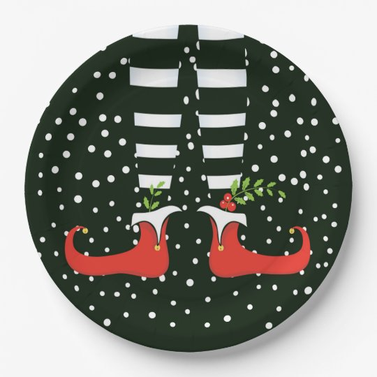 Christmas Paper Plates.The Tall Elf Christmas Party Paper Plates