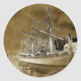 The Tall Ship ...Elissa  Distressed Round Stickers