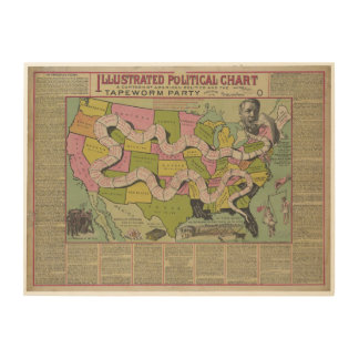 The Tapeworm Party American Political Chart (1888) Wood Wall Art