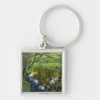 The Taunton River in Bridgewater, Silver-Colored Square Keychain