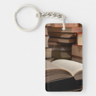 The TBR Book Stack Double-Sided Rectangular Acrylic Keychain