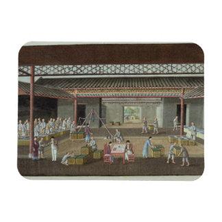 The Tea Depot (gouache on silk) Rectangular Magnet