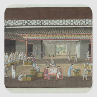 The Tea Depot (gouache on silk) Square Sticker