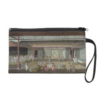 The Tea Depot (gouache on silk) Wristlet Purse