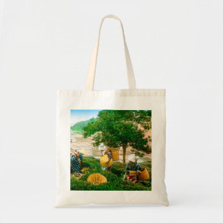 The Tea Pickers of Old Japan Vintage Hand Colored Tote Bag