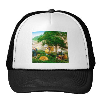 The Tea Pickers of Old Japan Vintage Hand Colored Trucker Hat