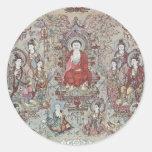 The Teaching Budha Sakyamuni By Chang Sheng-Wen Round Stickers