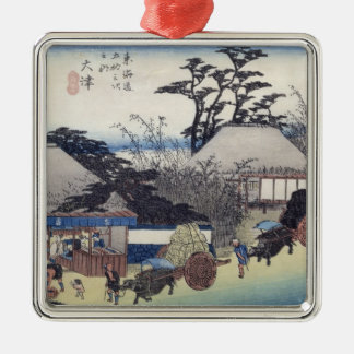 The Teahouse at the Spring, Otsu Square Metal Christmas Ornament