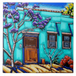 """The Teal Green Tucson Barrio Tile<br><div class=""""desc"""">Neil Myers is pleased to share this beautiful decorative tile depicting his painting &quot;Teal Green Tucson Barrio II&quot;.  The Tucson Barrio has been undergoing extensive restoration in the past few years,  and Neil has greatly enjoyed painting the many colored buildings of that old historic district.</div>"""