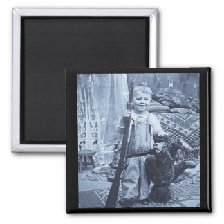 The Teddy Bear Hunter Vintage Stereoview Magnet