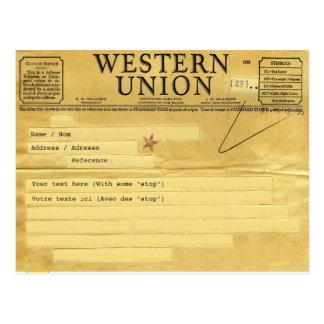 The telegram/el telegrama postales