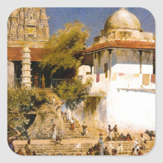 The Temple and Tank of Walkeschwar at Bombay Square Sticker