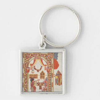 """The Temple of Jerusalem from the """"Bible Silver-Colored Square Keychain"""