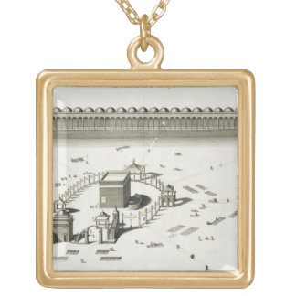 The Temple of Mecca (engraving) Gold Plated Necklace