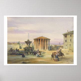 The Temple of Vesta, Rome, 1849 (w/c over graphite Poster