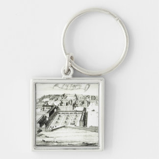 The Temple Silver-Colored Square Keychain
