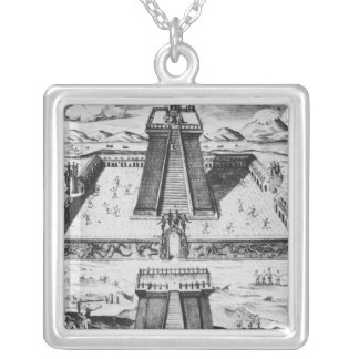 The Templo Mayor at Tenochtitlan Square Pendant Necklace