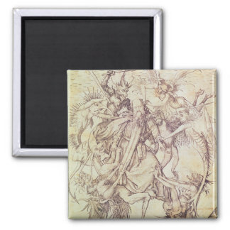 The Temptation of St. Anthony (engraving) 2 Inch Square Magnet