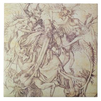 The Temptation of St. Anthony (engraving) Ceramic Tile