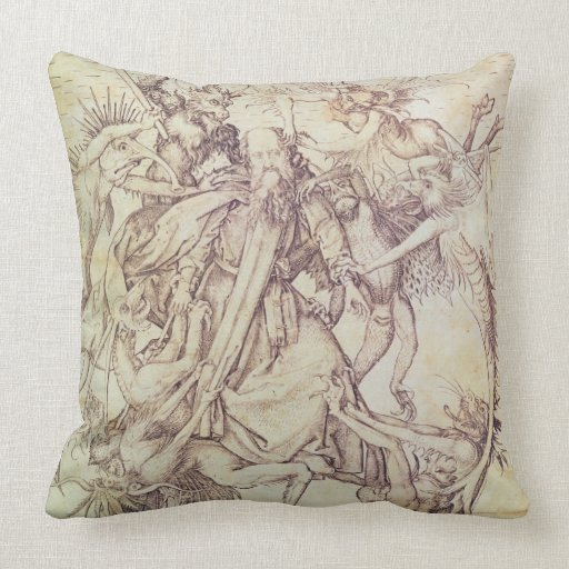 The Temptation of St. Anthony (engraving) Throw Pillows