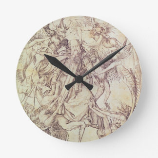 The Temptation of St. Anthony (engraving) Round Clock