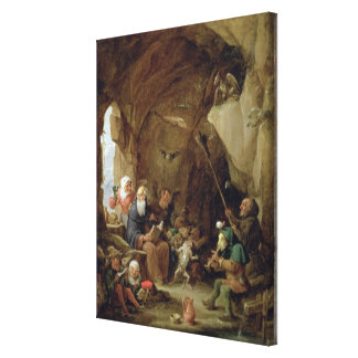 The Temptation of St. Anthony in a Rocky Cavern Canvas Print