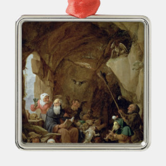 The Temptation of St. Anthony in a Rocky Cavern Metal Ornament