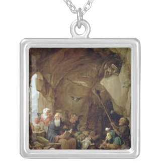 The Temptation of St. Anthony in a Rocky Cavern Silver Plated Necklace