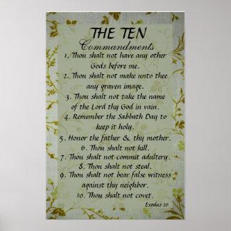 The Ten Commandments bible verse Exodus 20 Poster