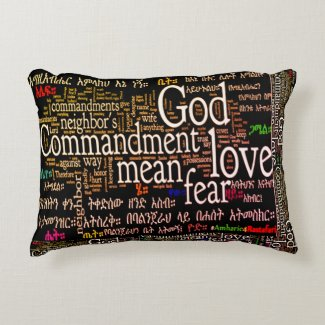 "The Ten Commandments In Amharic Pillow 16"" x 12"""