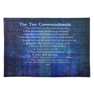 The Ten Commandments Listed Cloth Placemat