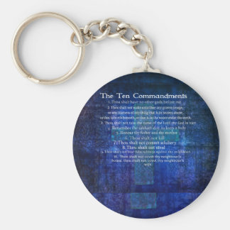 The Ten Commandments Listed Keychains