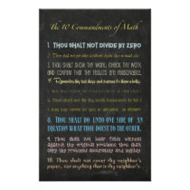 The Ten Commandments of Math Poster