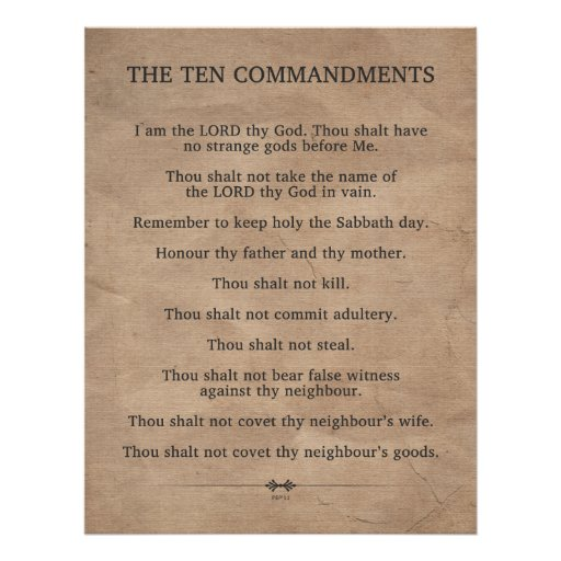 The Ten Commandments Print | Zazzle