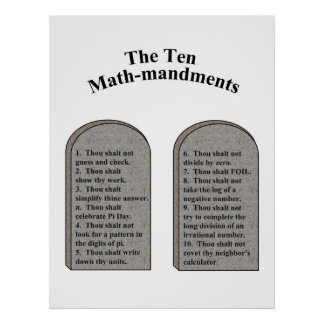 The Ten Math-Mandments Poster